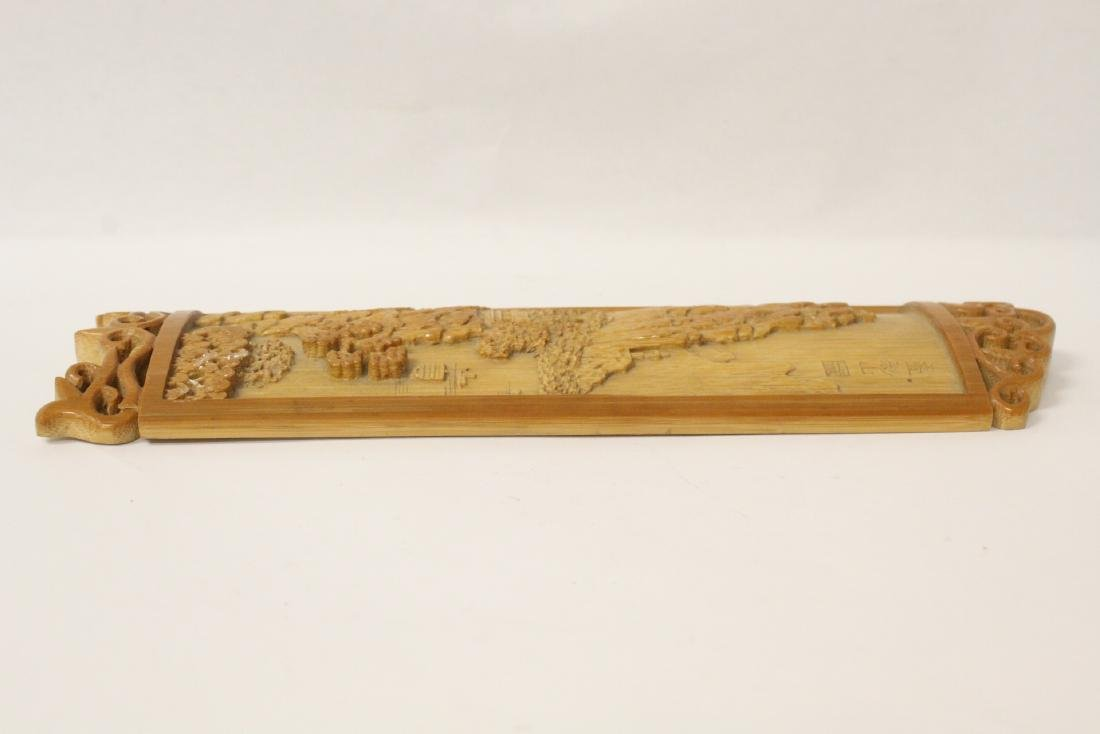 A very elaborately carved Chinese bamboo armrest - 10