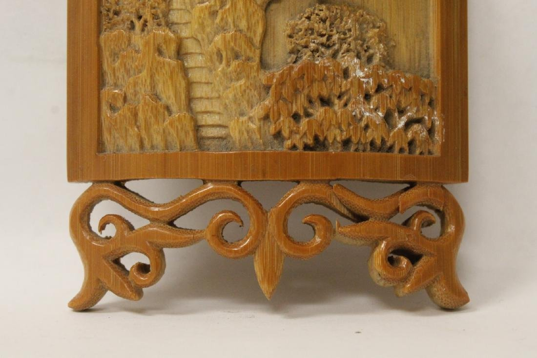 A very elaborately carved Chinese bamboo armrest - 3