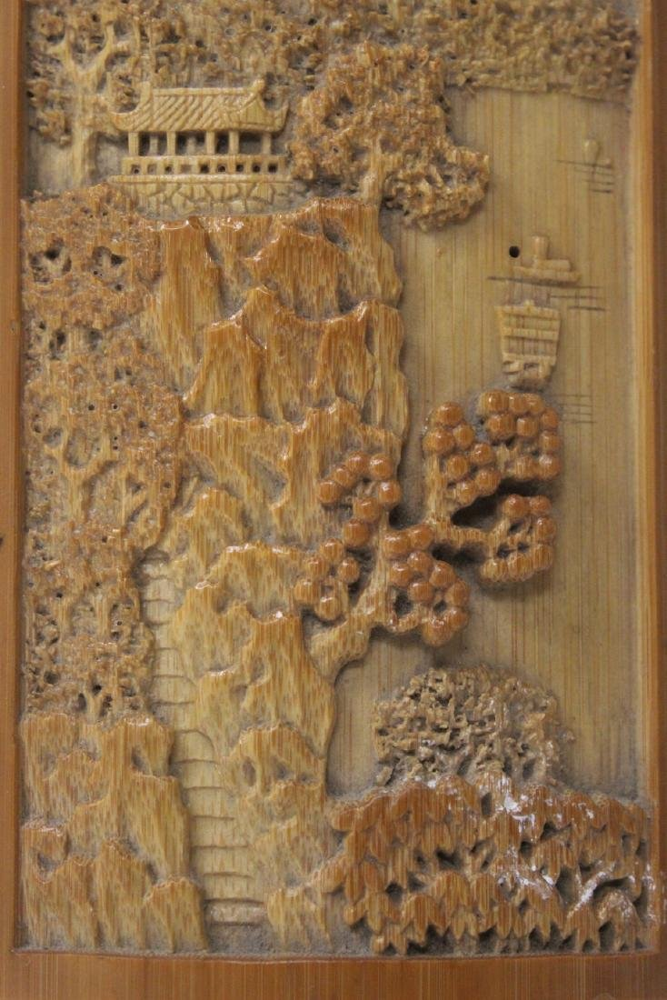 A very elaborately carved Chinese bamboo armrest - 5