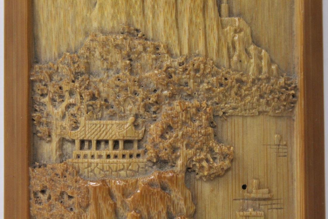 A very elaborately carved Chinese bamboo armrest - 8