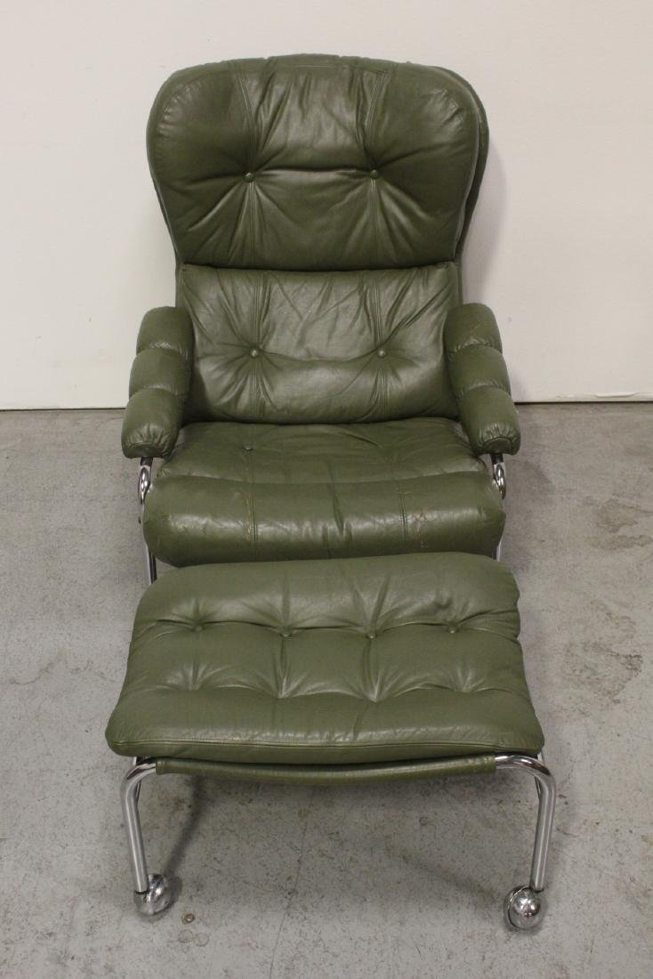 50's modern leather chair with ottoman