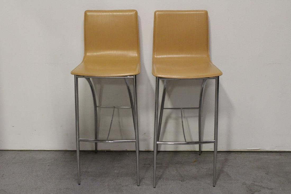 Pair modern design leather top bar stools