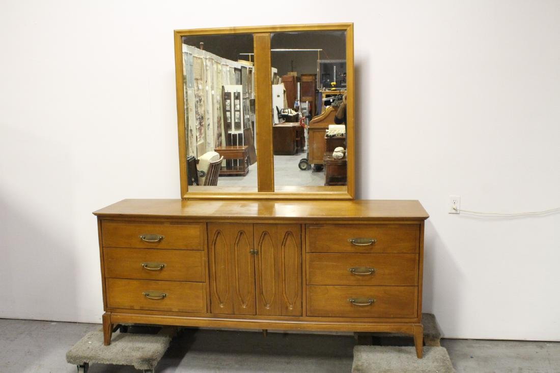 Danish modern teak wood dresser with mirror