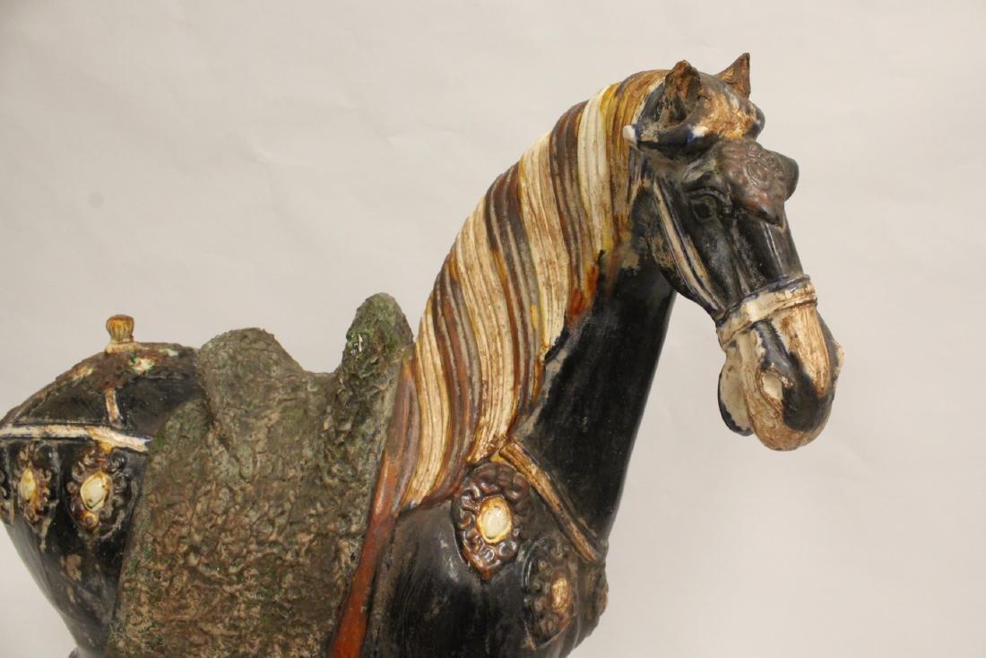 Large Chinese sancai style pottery horse - 6