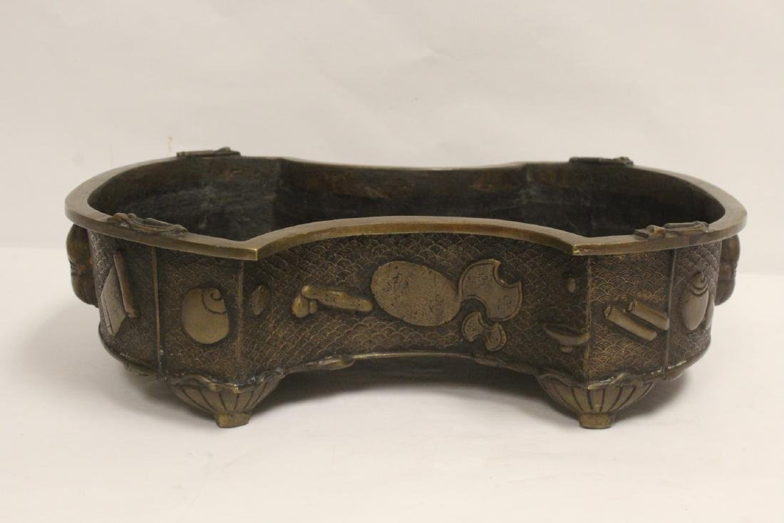 Large Chinese bronze planter