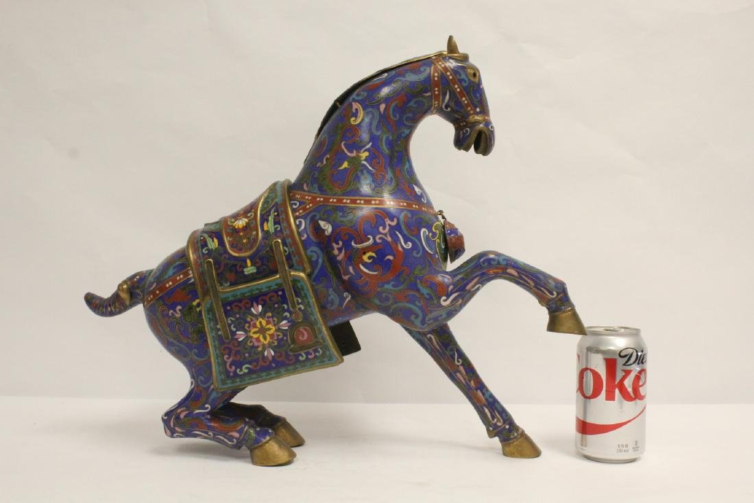 Vintage Chinese cloisonne horse - 3