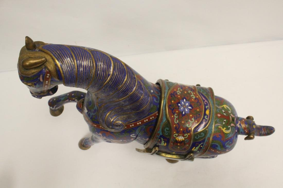 Vintage Chinese cloisonne horse - 5