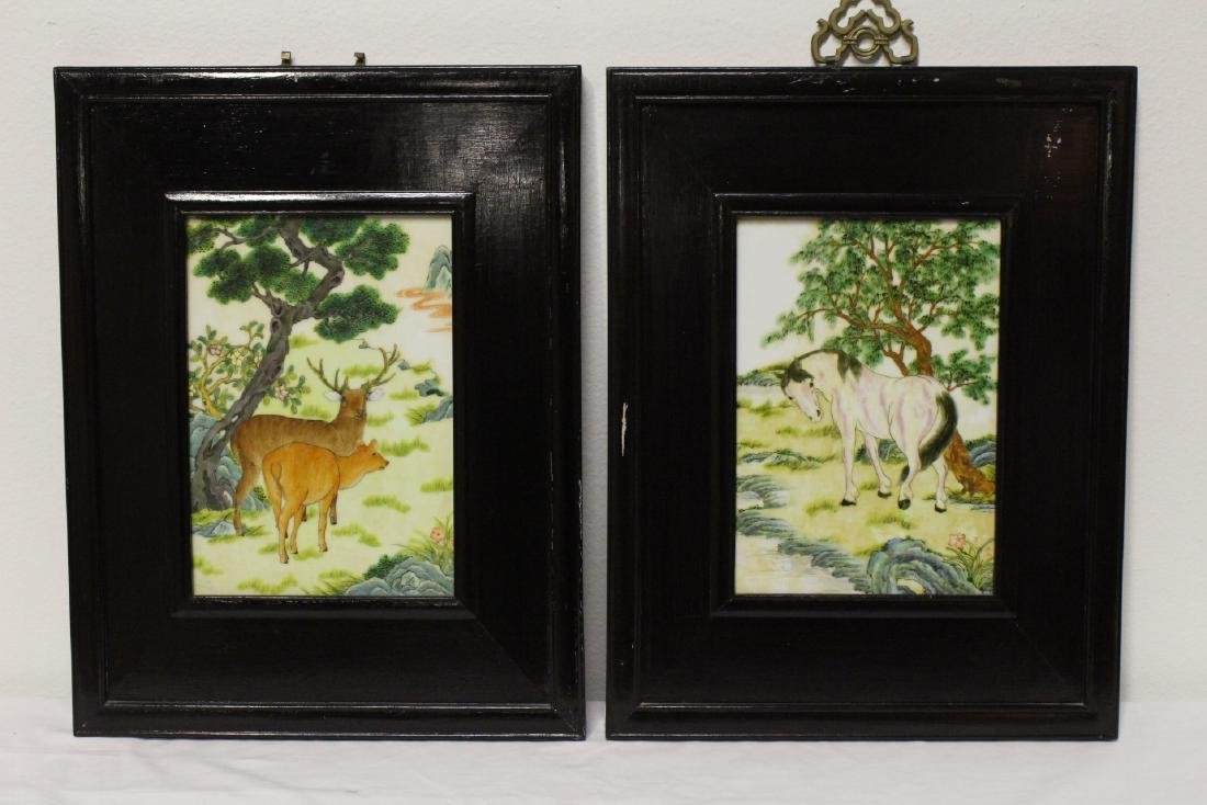 Pair finely painted framed porcelain plaques