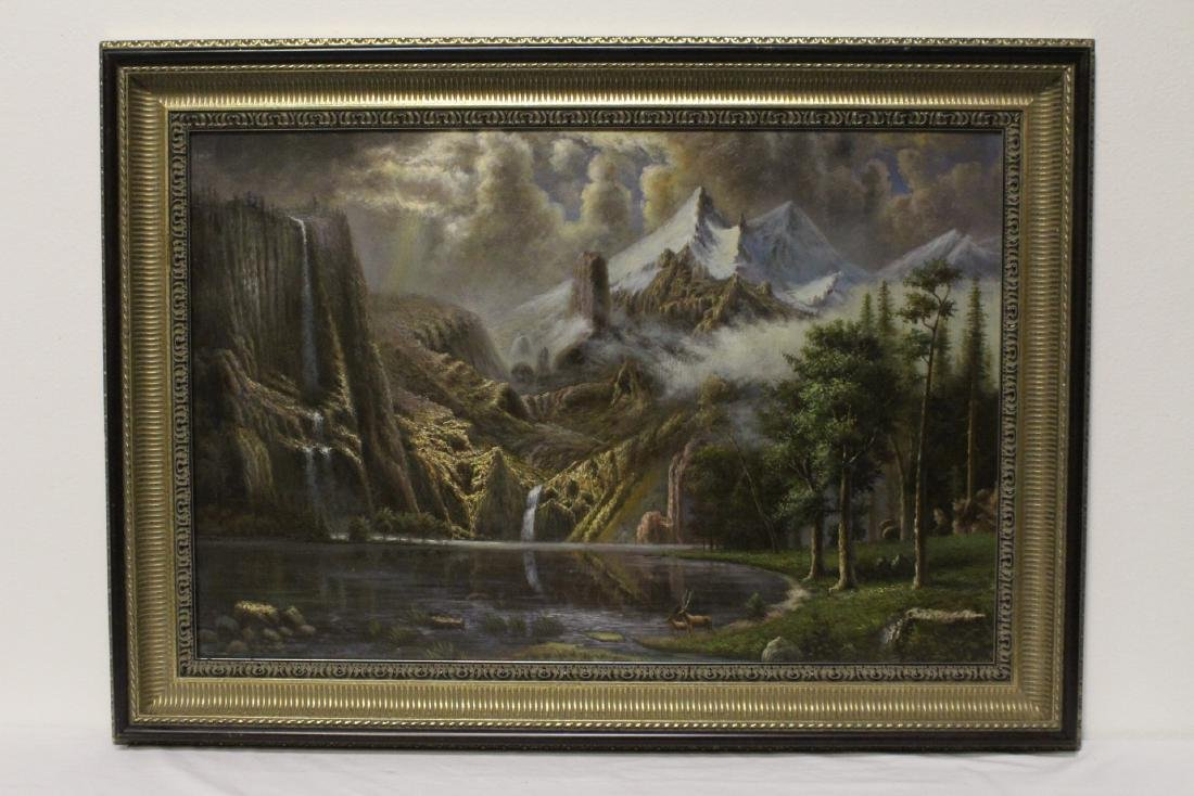 "oil on canvas ""mountain scene with lake"""