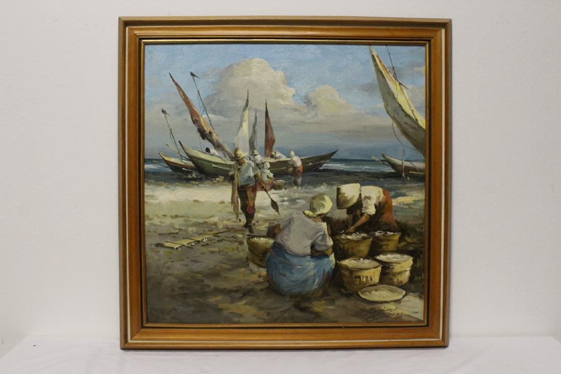 "Oil on canvas ""seashore scene with fisherman"""