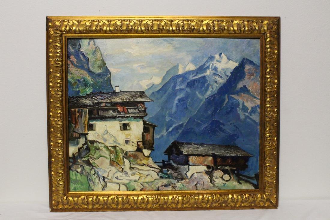 """Oil on panel """"mountain scene"""""""