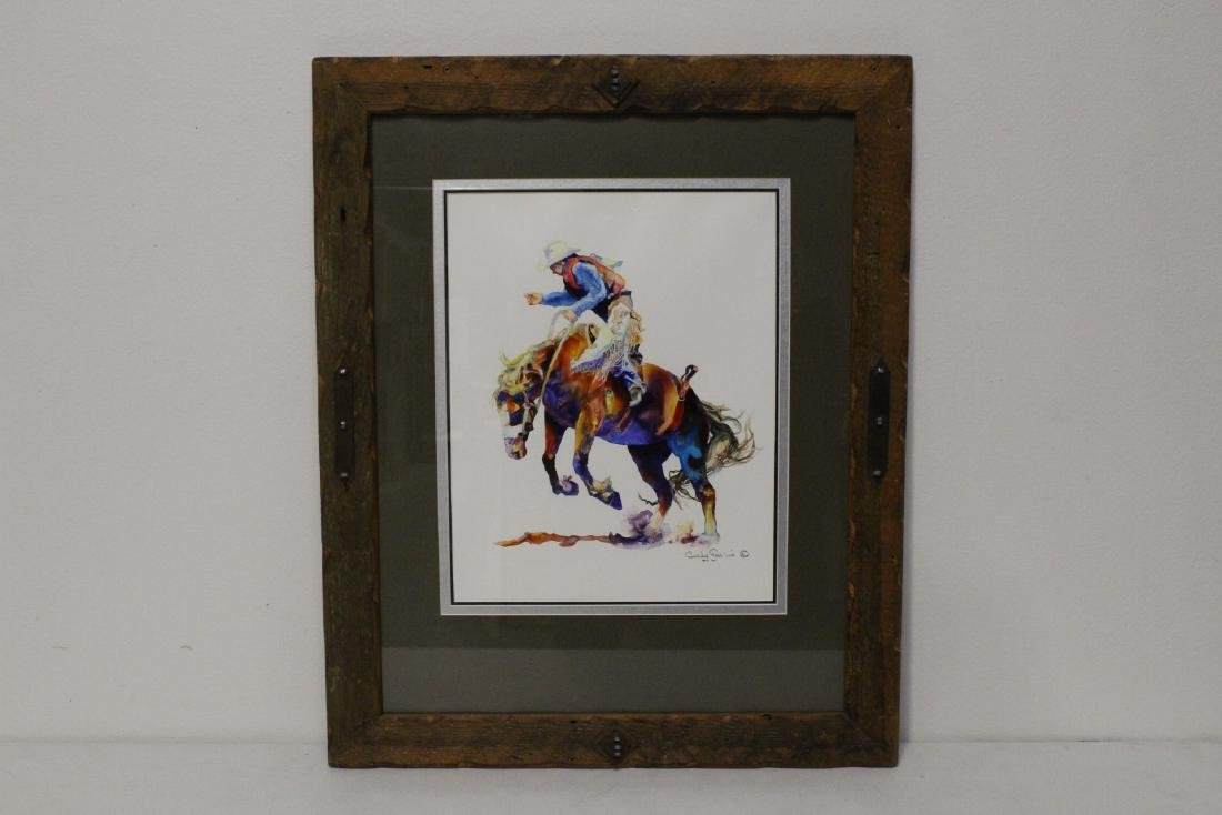 "Framed watercolor ""Buckin' A"" by Caly Garris"