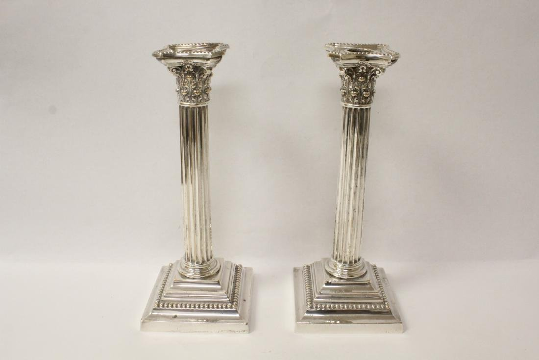 Pair antique Gorham silverplate candle holders
