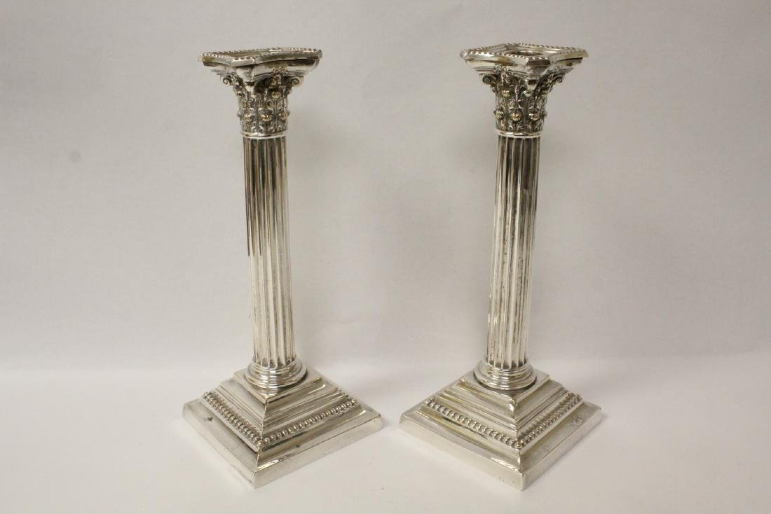 Pair antique Gorham silverplate candle holders - 2