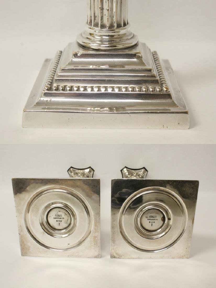 Pair antique Gorham silverplate candle holders - 9