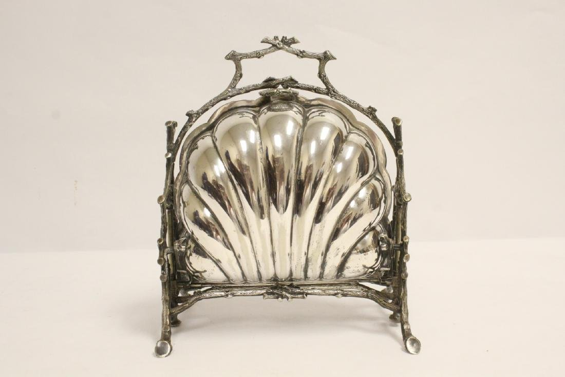 A very fancy Victorian silverplate toast warmer - 3