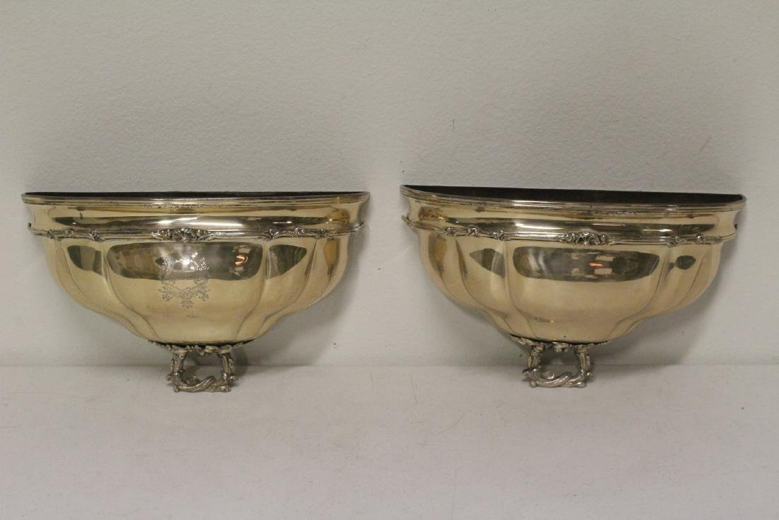 Pair antique European silverplate wall sconces