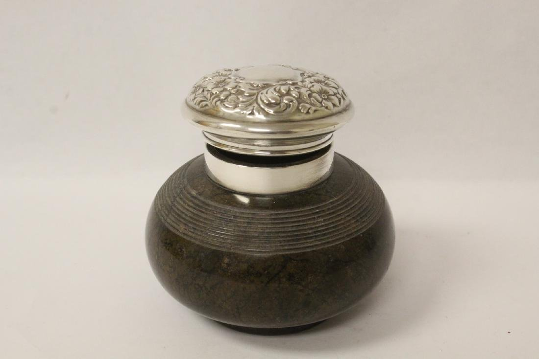 Victorian sterling silver top marble inkwell