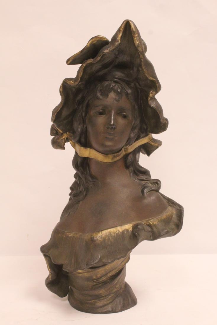 Bronze sculpture of lady's bust