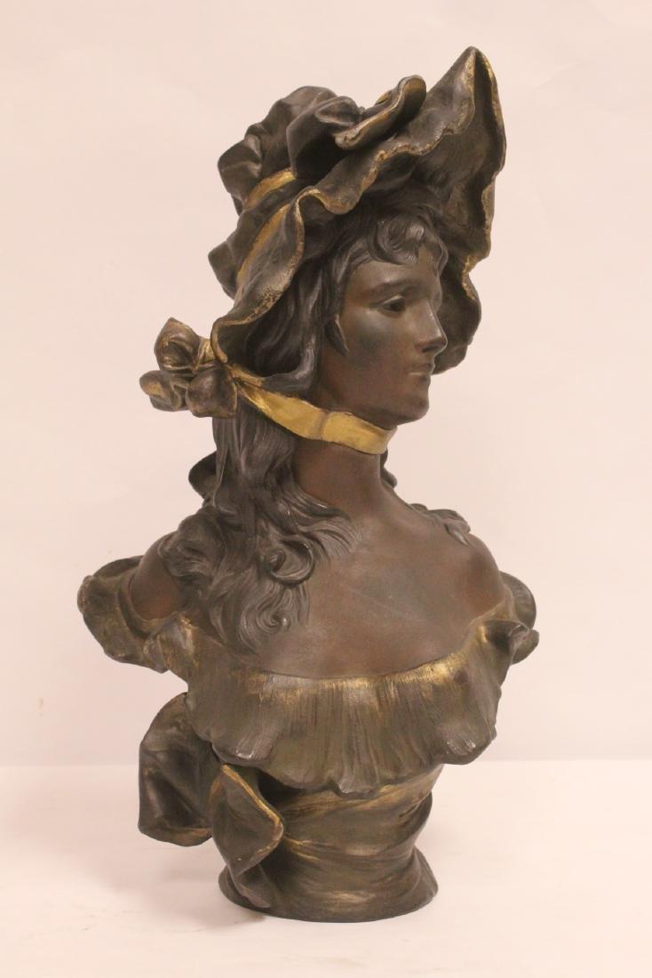 Bronze sculpture of lady's bust - 2