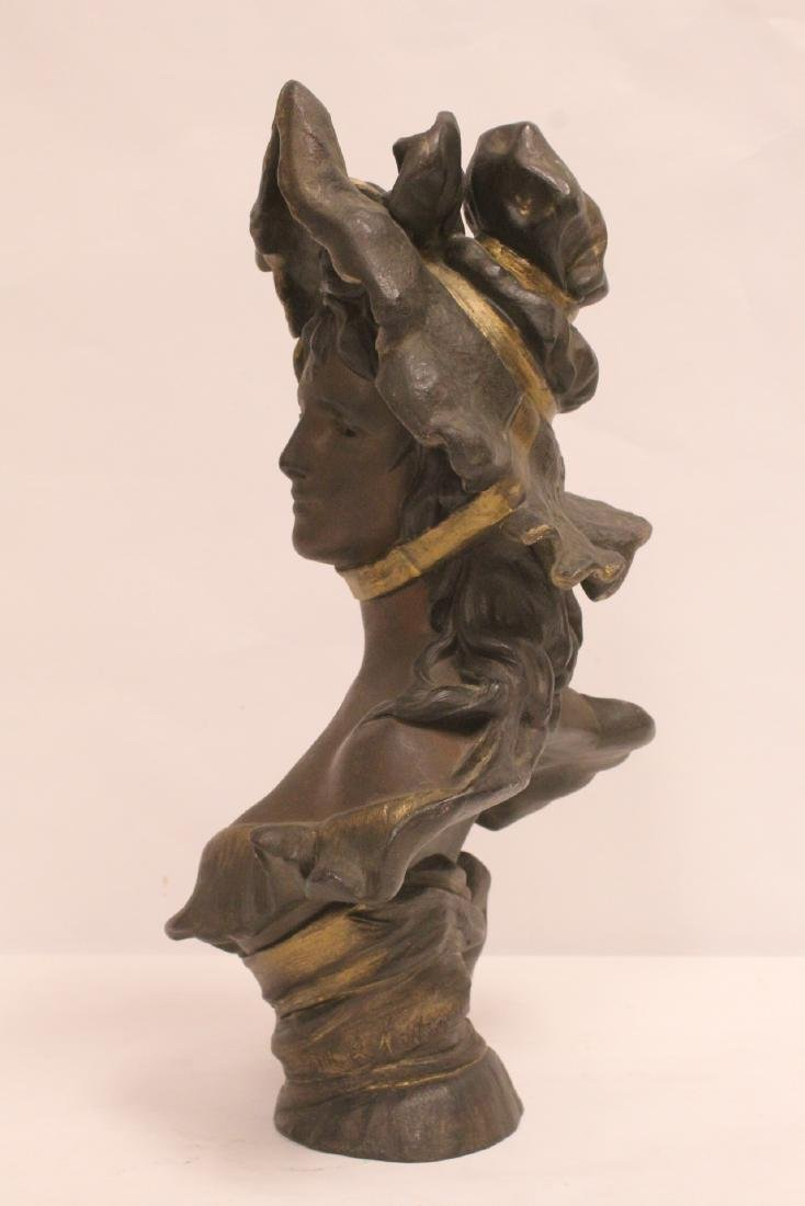 Bronze sculpture of lady's bust - 3