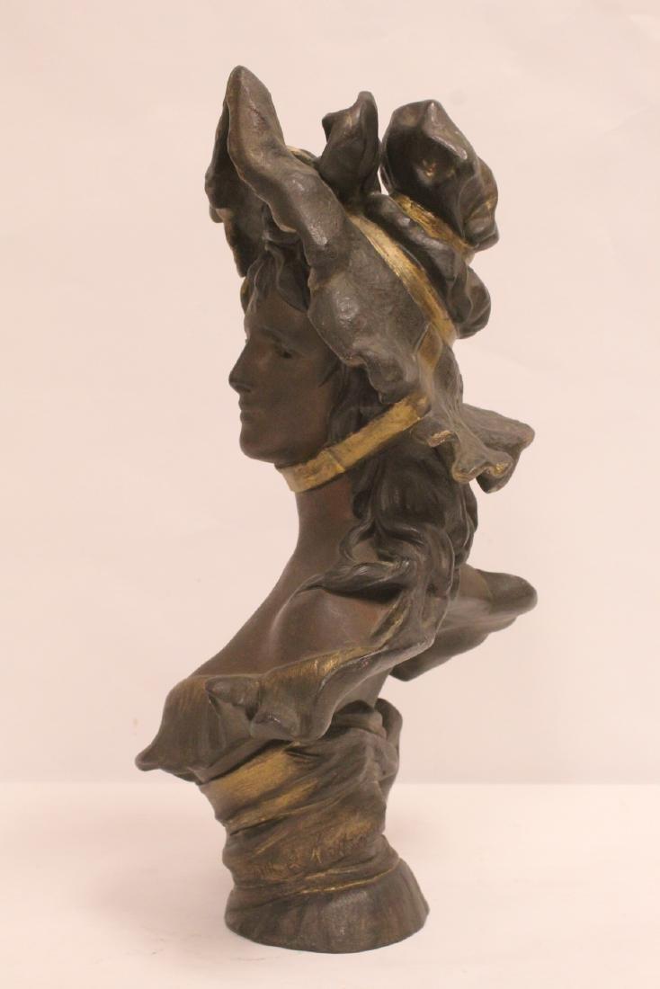 Bronze sculpture of lady's bust - 3