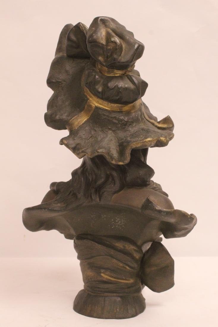 Bronze sculpture of lady's bust - 4