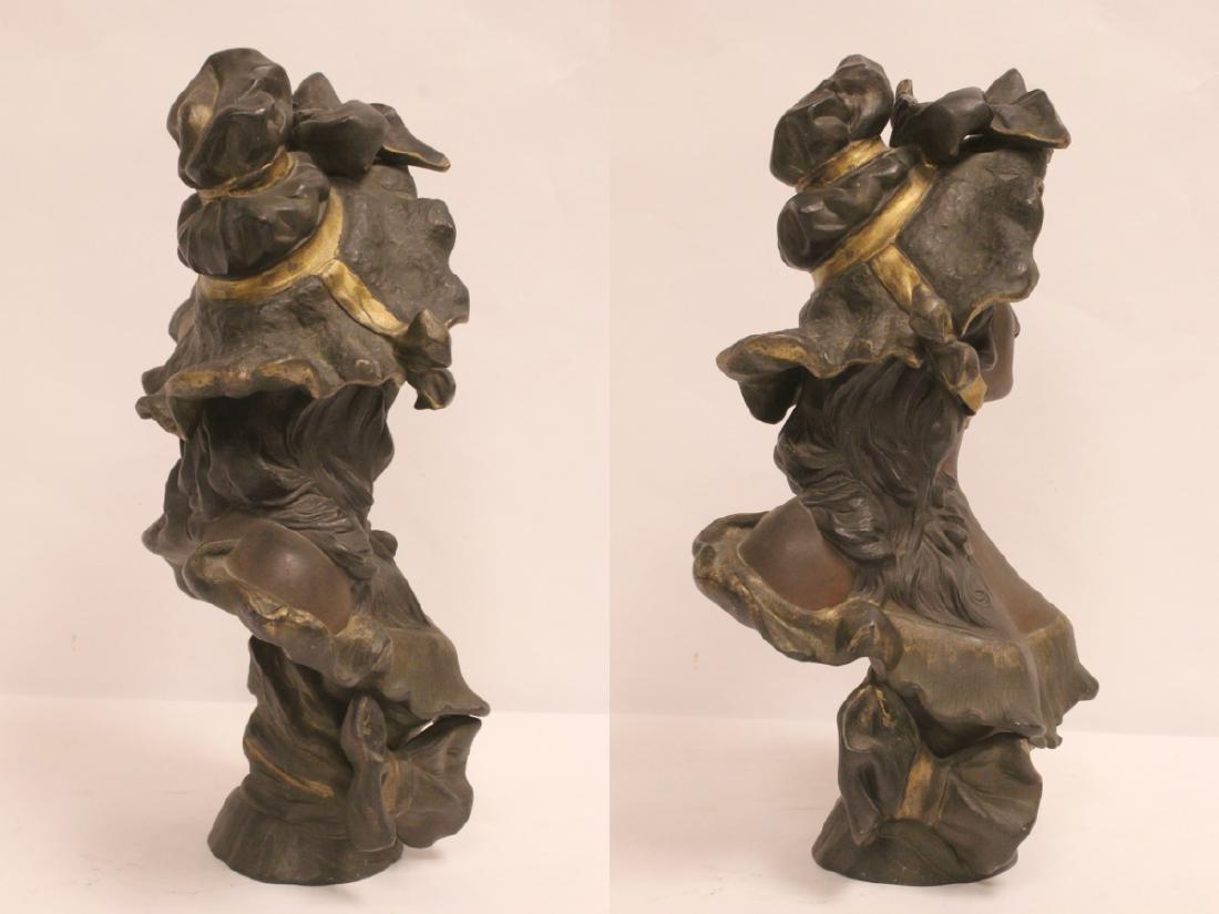 Bronze sculpture of lady's bust - 5