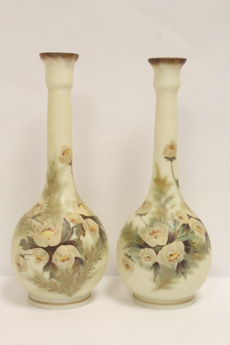 Pair Victorian painted glass vases