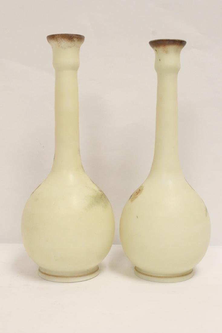 Pair Victorian painted glass vases - 3