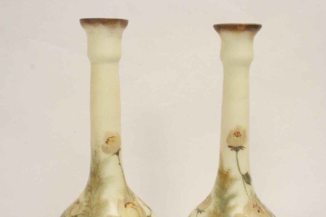 Pair Victorian painted glass vases - 6