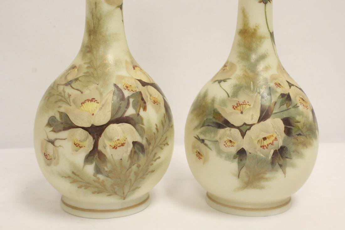 Pair Victorian painted glass vases - 7