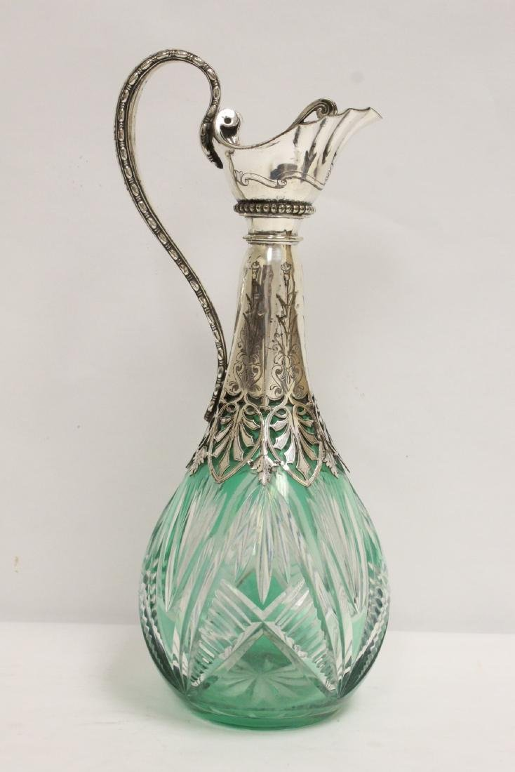 Bohemian crystal pitcher with silver/S.P. overlay