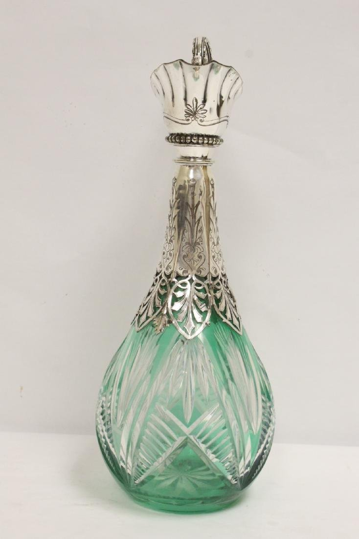 Bohemian crystal pitcher with silver/S.P. overlay - 2