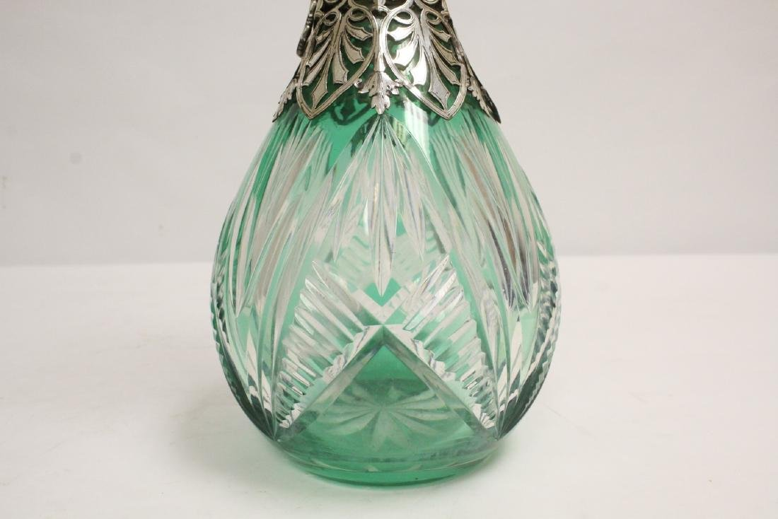 Bohemian crystal pitcher with silver/S.P. overlay - 9