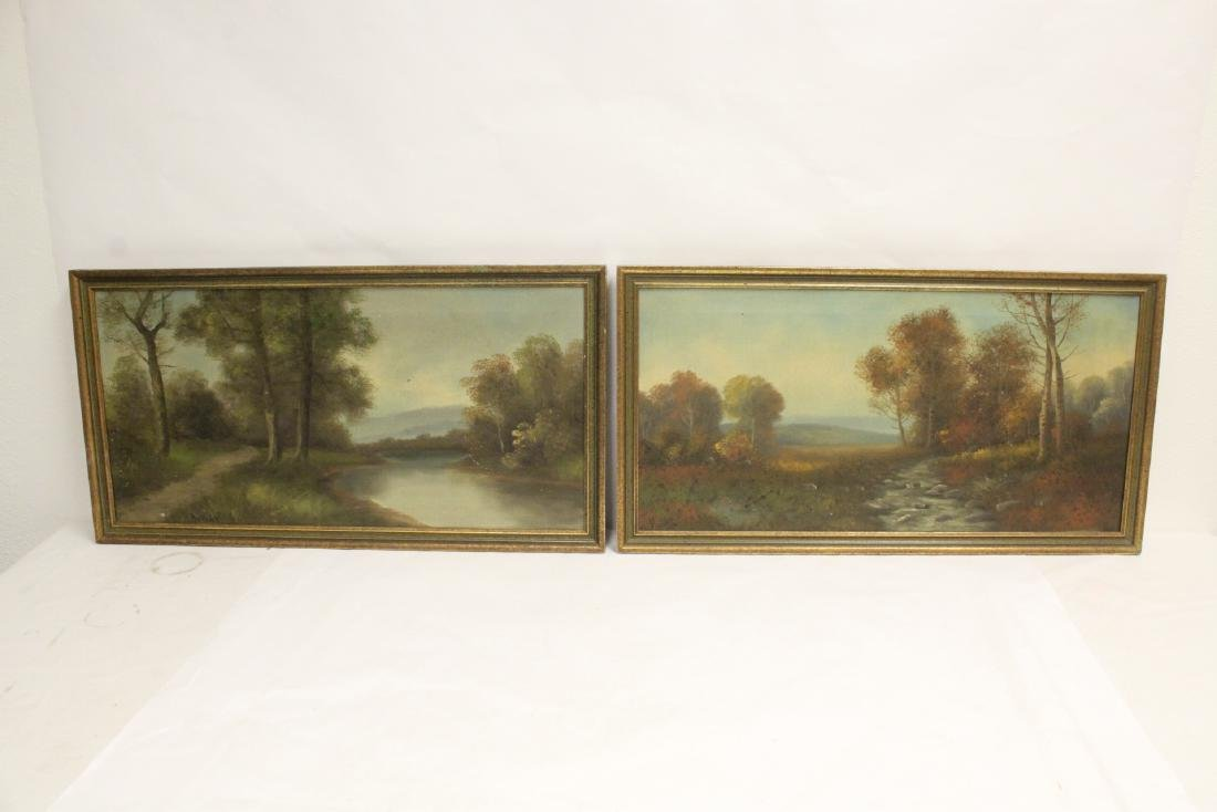 Two 19th century oil on canvas