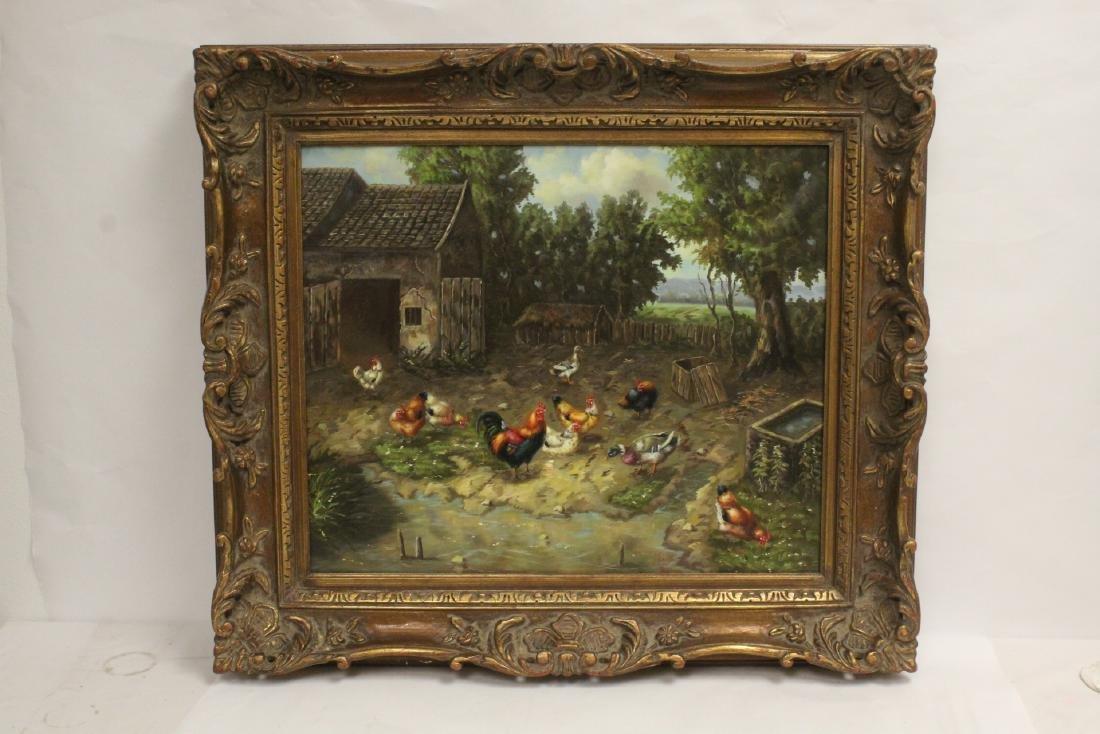 """Oil on canvas """"farm scene"""""""