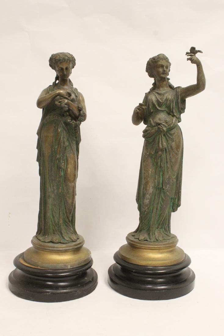 Pair 19th century spelter figures