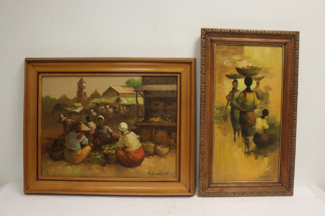 2 South Asian oil on canvas paintings