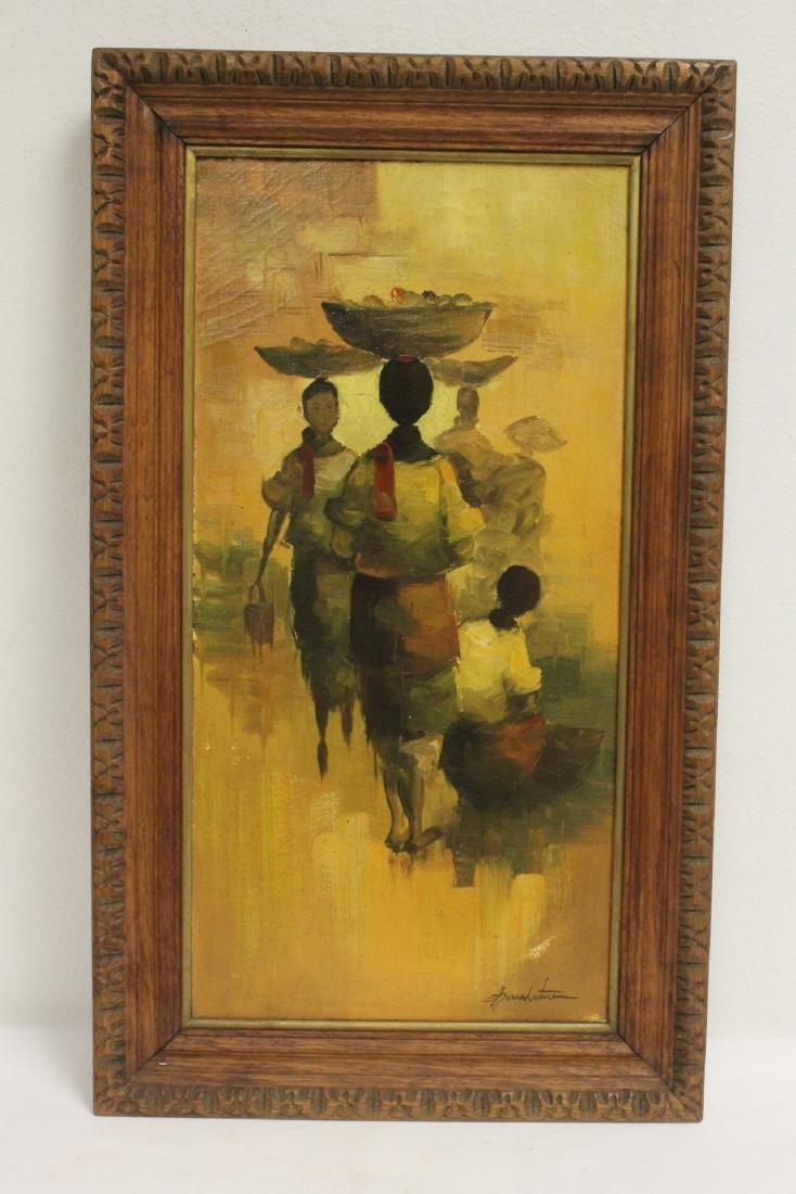 2 South Asian oil on canvas paintings - 2