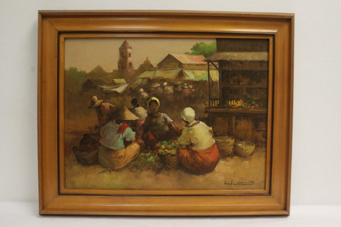 2 South Asian oil on canvas paintings - 6