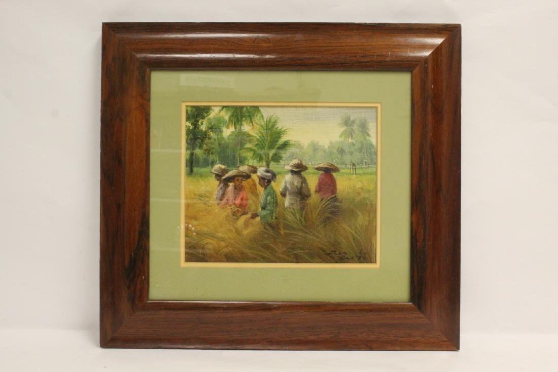 "Framed oil on canvas ""rice field"""