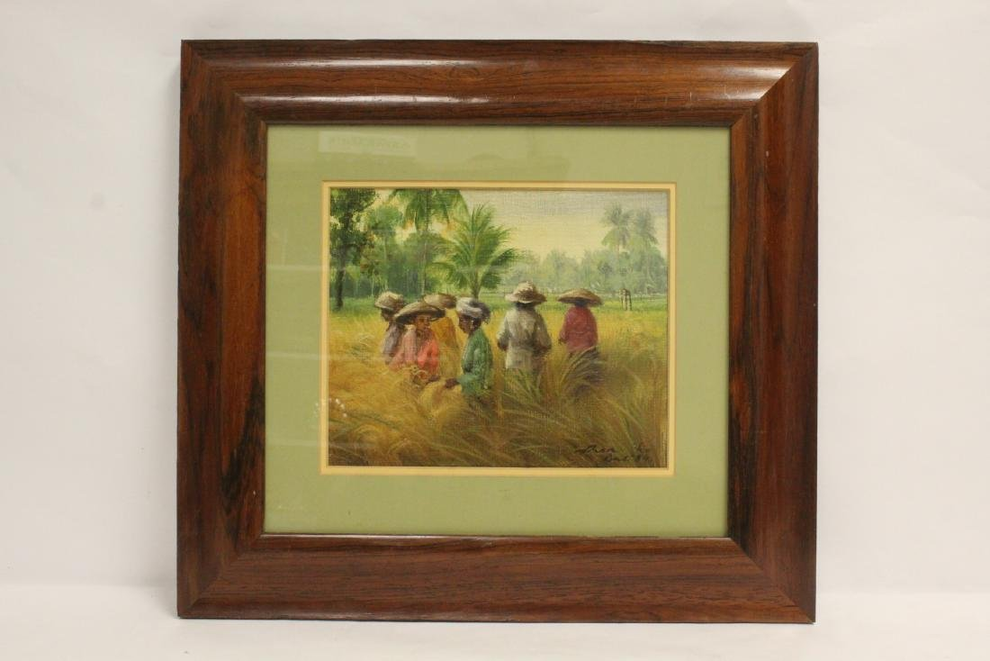 "Framed oil on canvas ""rice field"""