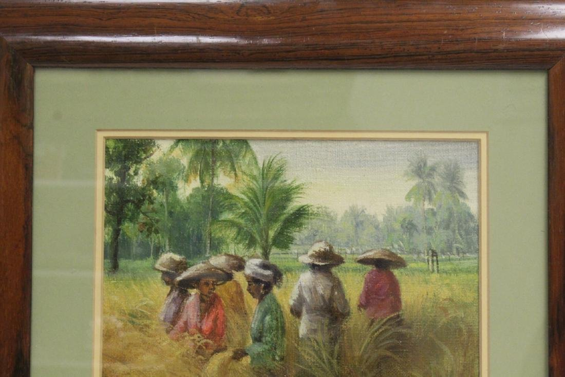 "Framed oil on canvas ""rice field"" - 2"