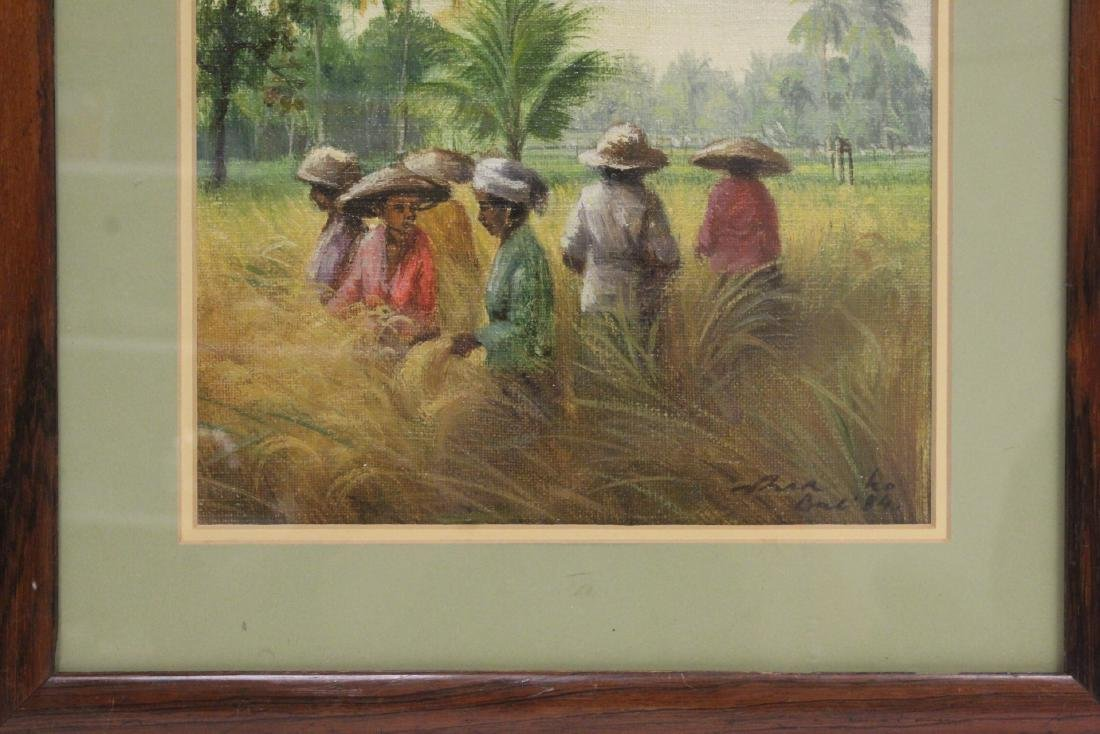 "Framed oil on canvas ""rice field"" - 3"