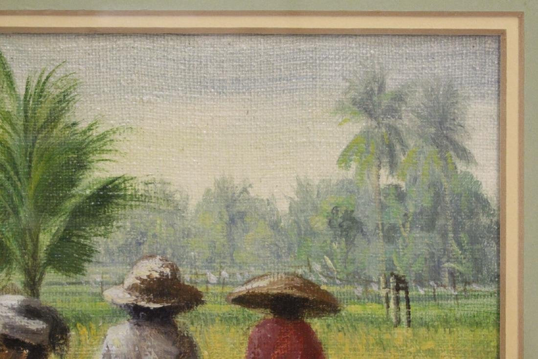 "Framed oil on canvas ""rice field"" - 5"