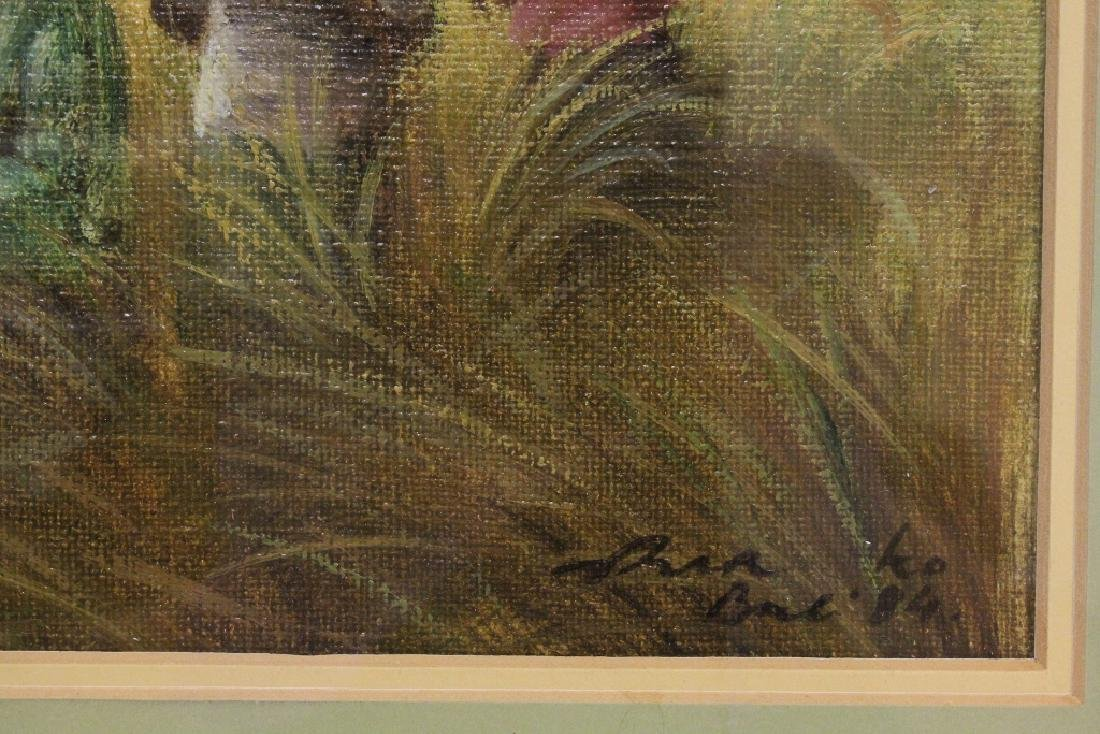 "Framed oil on canvas ""rice field"" - 6"
