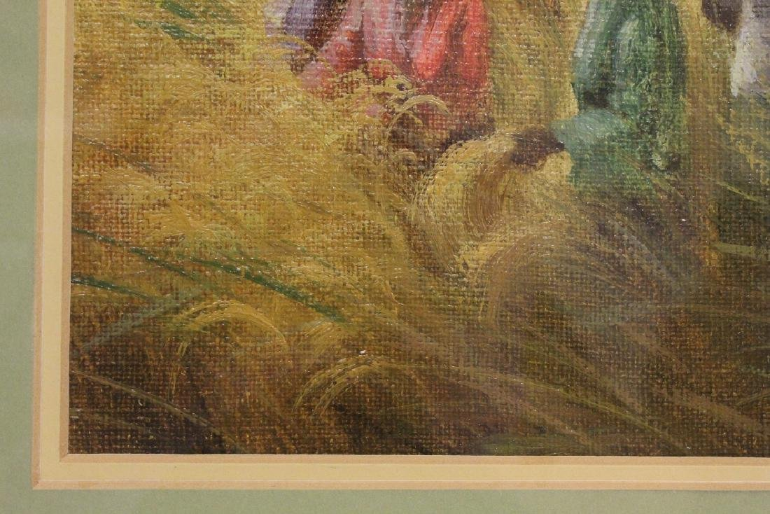 "Framed oil on canvas ""rice field"" - 7"