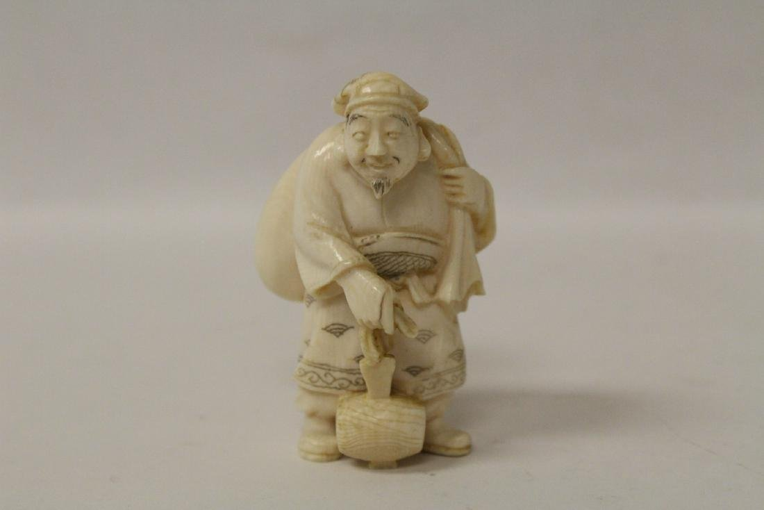 One wood and 4 bone carved Japanese netsuke - 2