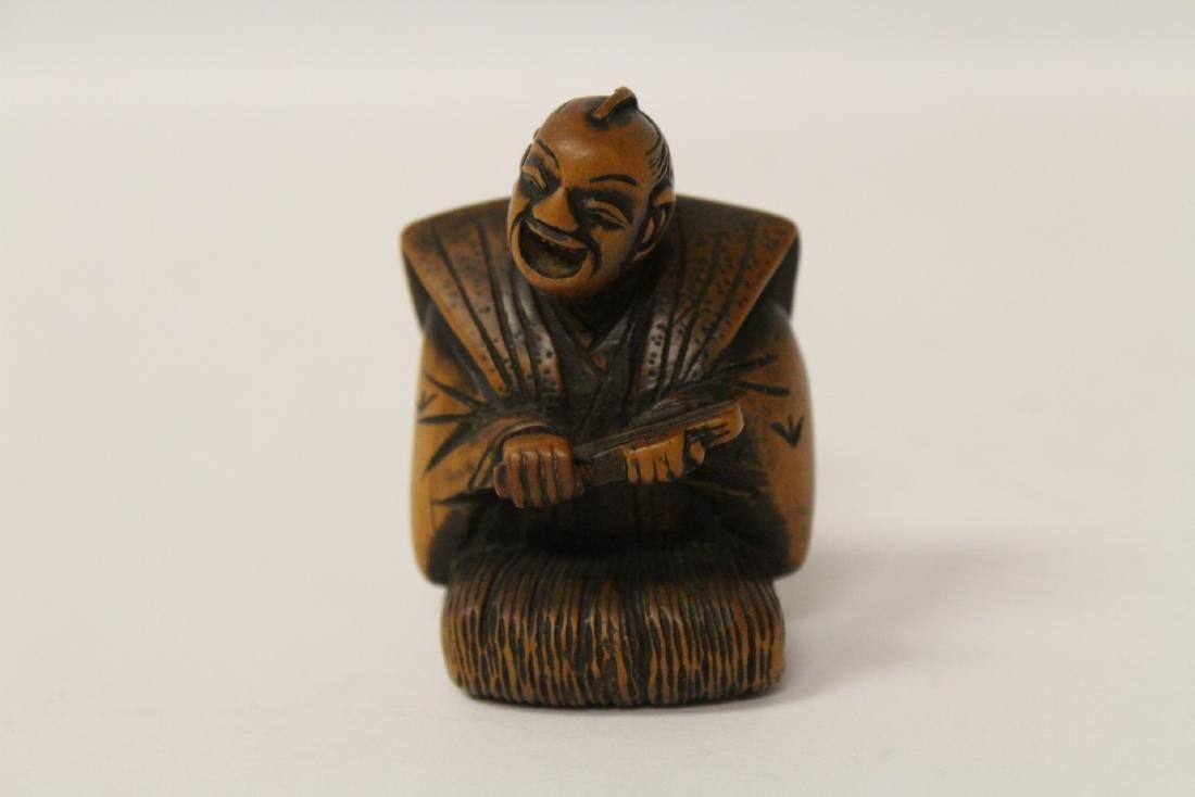One wood and 4 bone carved Japanese netsuke - 6